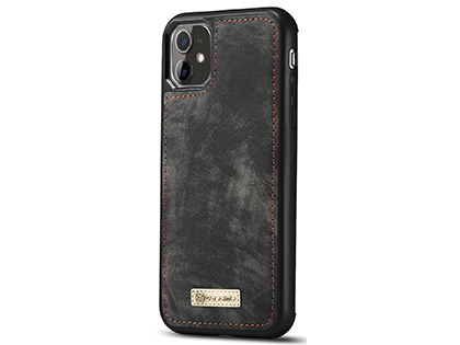 CaseMe 2-in-1 Synthetic Leather Wallet Case for iPhone 11 - Khaki/Grey
