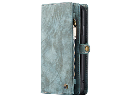 CaseMe 2-in-1 Synthetic Leather Wallet Case for iPhone 11 - Teal/Ash Leather Wallet Case