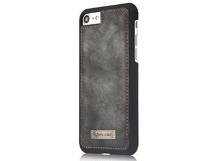 CaseMe 2-in-1 Synthetic Leather Wallet Case for iPhone SE (2020) - Khaki/Grey