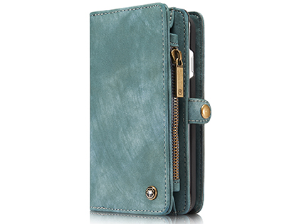 CaseMe 2-in-1 Synthetic Leather Wallet Case for iPhone SE (2020) - Teal/Ash Leather Wallet Case