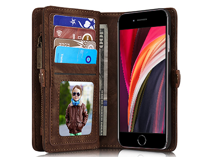 CaseMe 2-in-1 Synthetic Leather Wallet Case for iPhone SE (2020) - Beige