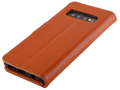 Premium Leather Wallet Case for Samsung Galaxy S10 5G - Caramel Leather Wallet Case