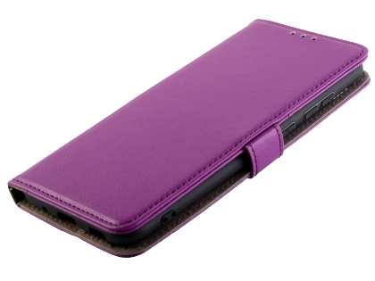 Synthetic Leather Wallet Case with Stand for Samsung Galaxy A11 - Purple