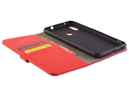 Synthetic Leather Wallet Case with Stand for Samsung Galaxy A11 - Red