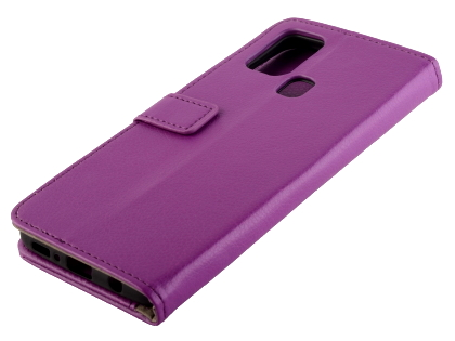 Synthetic Leather Wallet Case with Stand for Samsung Galaxy A21s - Purple