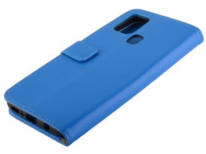 Synthetic Leather Wallet Case with Stand for Samsung Galaxy A21s - Blue Leather Wallet Case