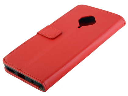 Synthetic Leather Wallet Case with Stand for vivo X50 Lite - Red Leather Wallet Case