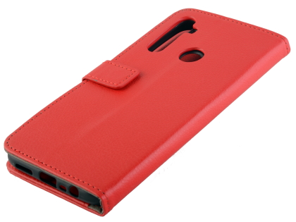 Synthetic Leather Wallet Case with Stand for Motorola Moto G8 - Red Leather Wallet Case