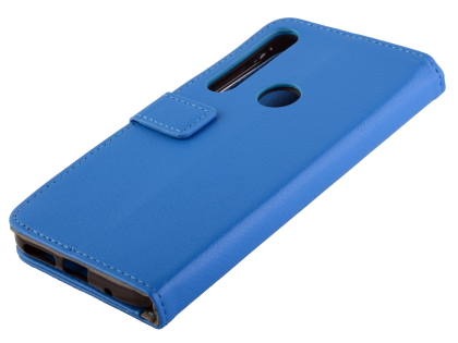 Synthetic Leather Wallet Case with Stand for Motorola Moto G8 Plus - Blue Leather Wallet Case