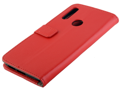 Synthetic Leather Wallet Case with Stand for Motorola Moto E6 Plus - Red Leather Wallet Case
