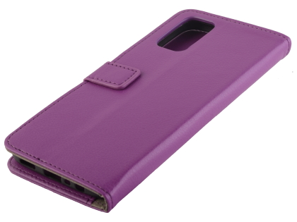 Synthetic Leather Wallet Case with Stand for OPPO A72 - Purple Leather Wallet Case