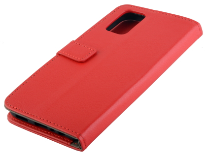 Synthetic Leather Wallet Case with Stand for OPPO A72 - Red Leather Wallet Case