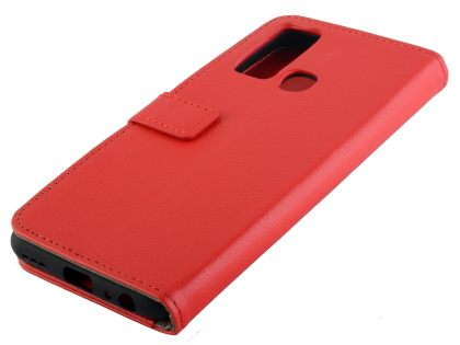 Synthetic Leather Wallet Case with Stand for vivo Y30 - Red Leather Wallet Case