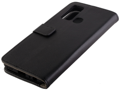 Synthetic Leather Wallet Case with Stand for vivo Y30 - Black Leather Wallet Case