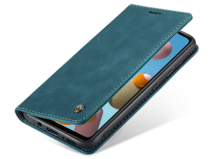 CaseMe Slim Synthetic Leather Wallet Case with Stand for Samsung Galaxy A21s - Teal
