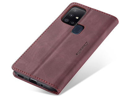 CaseMe Slim Synthetic Leather Wallet Case with Stand for Samsung Galaxy A21s - Burgundy