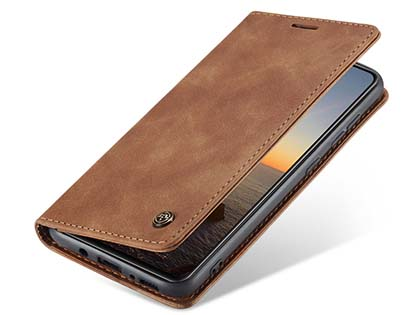 CaseMe Slim Synthetic Leather Wallet Case with Stand for Samsung Galaxy A21s - Tan Leather Wallet Case