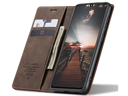 CaseMe Slim Synthetic Leather Wallet Case with Stand for Samsung Galaxy A31 - Chocolate