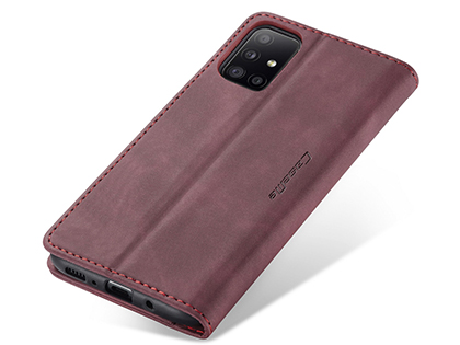 CaseMe Slim Synthetic Leather Wallet Case with Stand for Samsung Galaxy A31 - Burgundy