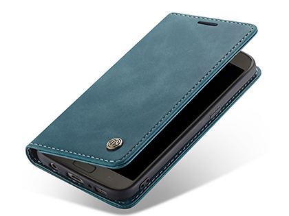 CaseMe Slim Synthetic Leather Wallet Case with Stand for Samsung Galaxy S7 - Teal Leather Wallet Case