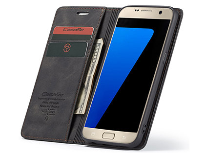 CaseMe Slim Synthetic Leather Wallet Case with Stand for Samsung Galaxy S7 - Charcoal