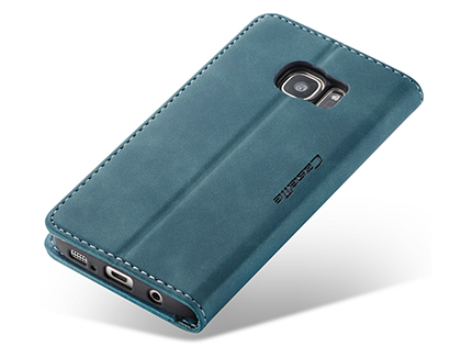 CaseMe Slim Synthetic Leather Wallet Case with Stand for Samsung Galaxy S7 Edge - Teal