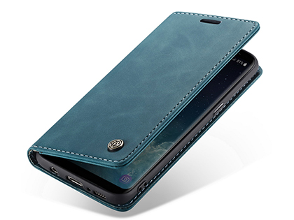 CaseMe Slim Synthetic Leather Wallet Case with Stand for Samsung Galaxy S8+ - Teal Leather Wallet Case