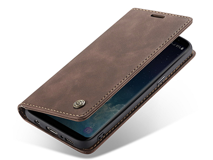 CaseMe Slim Synthetic Leather Wallet Case with Stand for Samsung Galaxy S8+ - Chocolate Leather Wallet Case