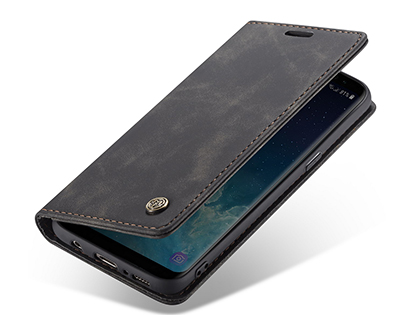CaseMe Slim Synthetic Leather Wallet Case with Stand for Samsung Galaxy S8+ - Charcoal Leather Wallet Case