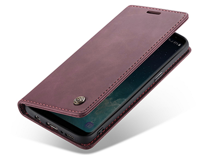 CaseMe Slim Synthetic Leather Wallet Case with Stand for Samsung Galaxy S8+ - Burgundy Leather Wallet Case