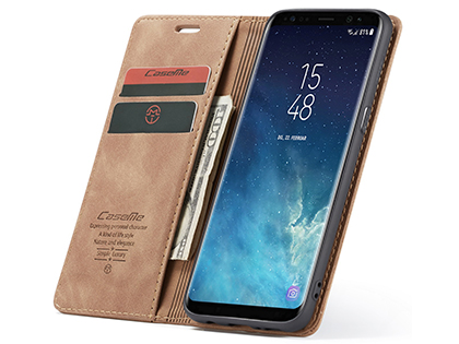 CaseMe Slim Synthetic Leather Wallet Case with Stand for Samsung Galaxy S8+ - Tan