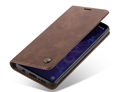 CaseMe Slim Synthetic Leather Wallet Case with Stand for Samsung Galaxy S9 - Chocolate Leather Wallet Case