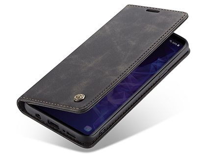 CaseMe Slim Synthetic Leather Wallet Case with Stand for Samsung Galaxy S9 - Charcoal Leather Wallet Case