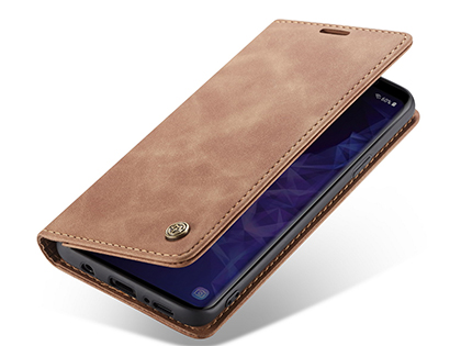 CaseMe Slim Synthetic Leather Wallet Case with Stand for Samsung Galaxy S9 - Tan Leather Wallet Case