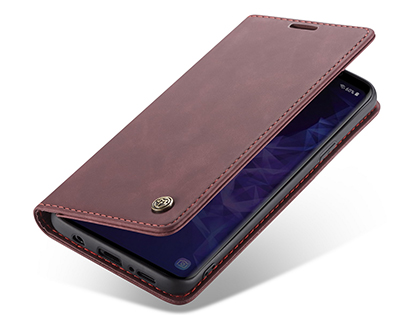 CaseMe Slim Synthetic Leather Wallet Case with Stand for Samsung Galaxy S9+ - Burgundy Leather Wallet Case
