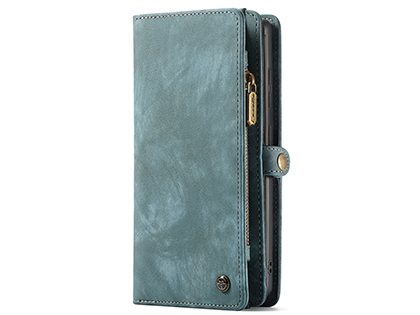 CaseMe 2-in-1 Synthetic Leather Wallet Case for Samsung Galaxy Note20 - Teal/Ash Leather Wallet Case