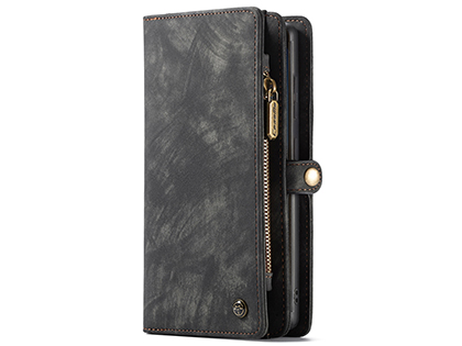 CaseMe 2-in-1 Synthetic Leather Wallet Case for Samsung Galaxy Note20 - Khaki/Grey Leather Wallet Case