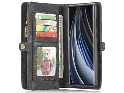 CaseMe 2-in-1 Synthetic Leather Wallet Case for Samsung Galaxy Note20 Ultra - Khaki/Grey