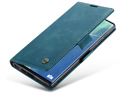 CaseMe Slim Synthetic Leather Wallet Case with Stand for Samsung Galaxy Note20 - Teal Leather Wallet Case