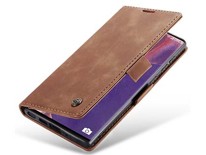 CaseMe Slim Synthetic Leather Wallet Case with Stand for Samsung Galaxy Note20 - Tan Leather Wallet Case