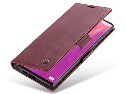 CaseMe Slim Synthetic Leather Wallet Case with Stand for Samsung Galaxy Note20 - Burgundy Leather Wallet Case