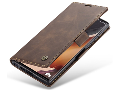 CaseMe Slim Synthetic Leather Wallet Case with Stand for Samsung Galaxy Note20 - Chocolate Leather Wallet Case