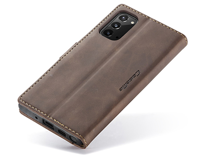 CaseMe Slim Synthetic Leather Wallet Case with Stand for Samsung Galaxy Note20 - Chocolate