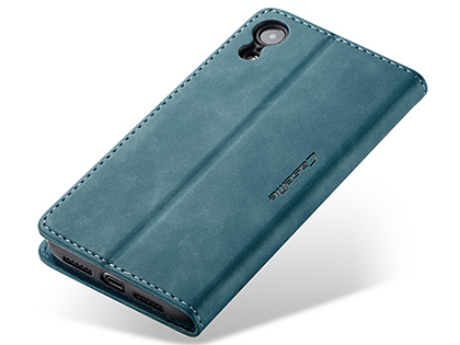 CaseMe Slim Synthetic Leather Wallet Case with Stand for iPhone XR - Teal
