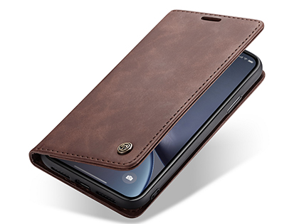 CaseMe Slim Synthetic Leather Wallet Case with Stand for iPhone XR - Chocolate Leather Wallet Case