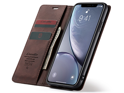 CaseMe Slim Synthetic Leather Wallet Case with Stand for iPhone XR - Chocolate