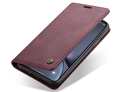 CaseMe Slim Synthetic Leather Wallet Case with Stand for iPhone XR - Burgundy Leather Wallet Case