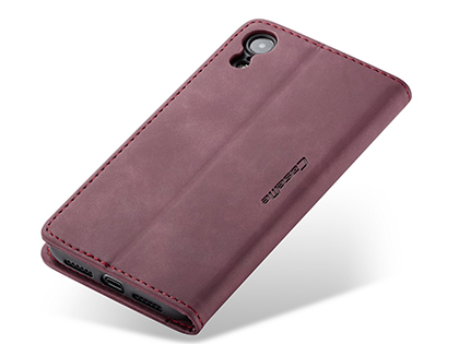 CaseMe Slim Synthetic Leather Wallet Case with Stand for iPhone XR - Burgundy