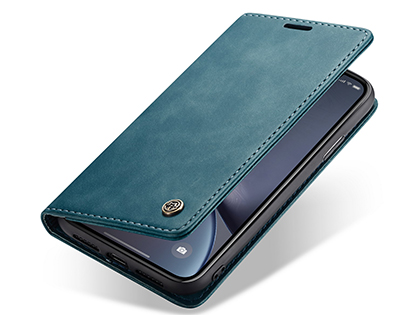 CaseMe Slim Synthetic Leather Wallet Case with Stand for iPhone Xs Max - Teal Leather Wallet Case