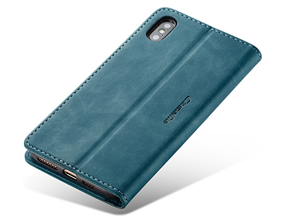 CaseMe Slim Synthetic Leather Wallet Case with Stand for iPhone Xs Max - Teal